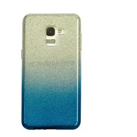 Samsung A8 Semi Glitter telefoonhoesje - Blauw
