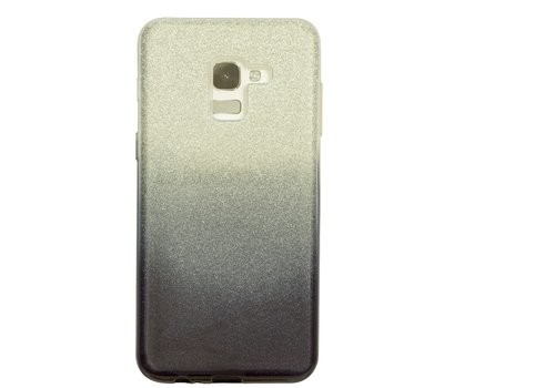 Samsung A8 Semi Glitter telefoonhoesje - Zwart