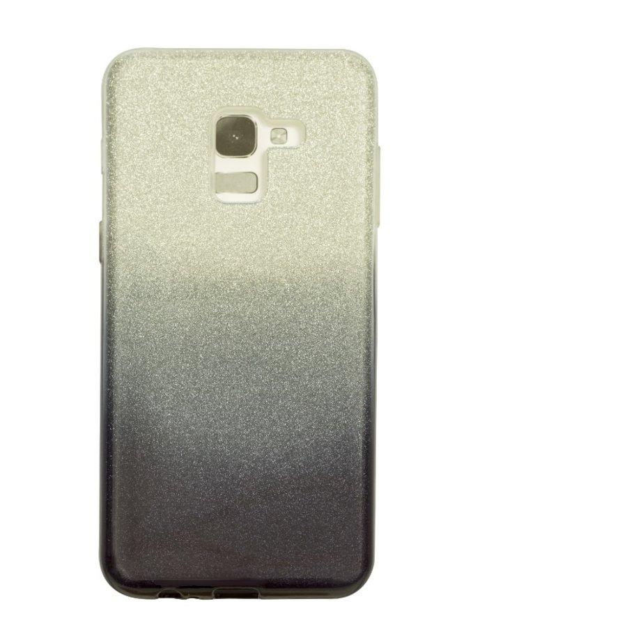 Samsung A8 Semi Glitter telefoonhoesje - Zwart-1