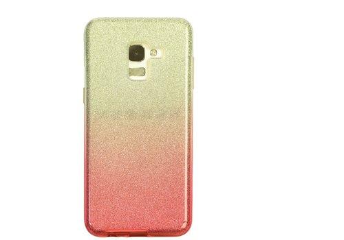 Samsung A8 Semi Glitter telefoonhoesje - Rood