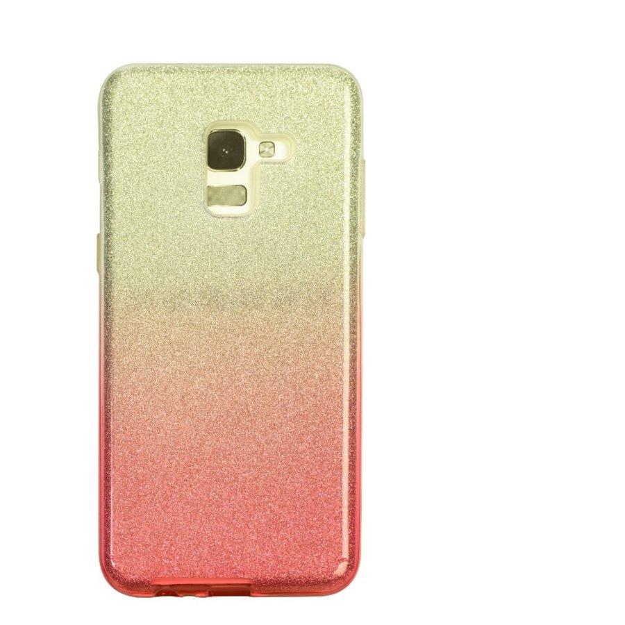 Samsung A8 Semi Glitter telefoonhoesje - Rood-1
