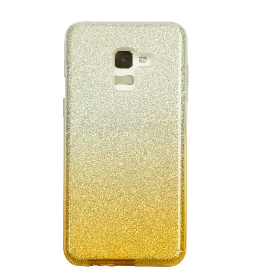 Samsung A8 Semi Glitter telefoonhoesje - Geel-1