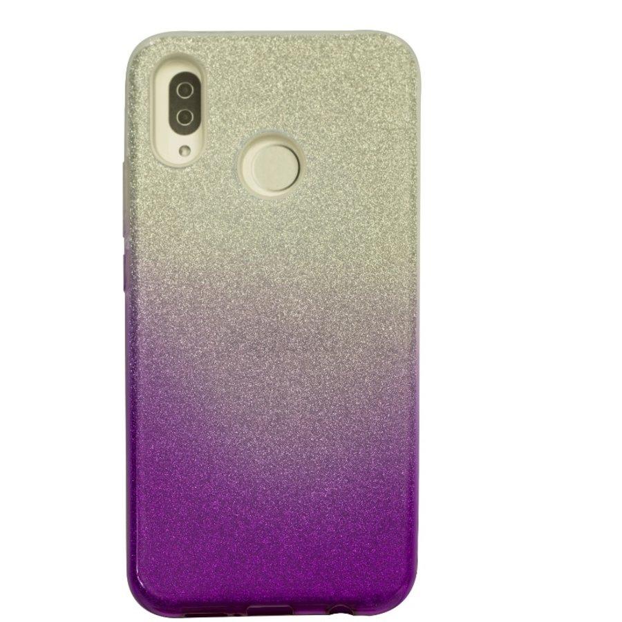 Huawei P20 Lite Semi Glitter telefoonhoesje - Paars-1