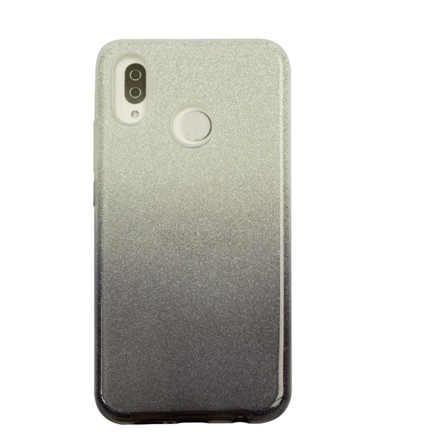 Huawei P20 Lite Semi Glitter telefoonhoesje - Zwart-1
