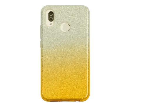 Huawei P20 Lite Semi Glitter telefoonhoesje - Geel