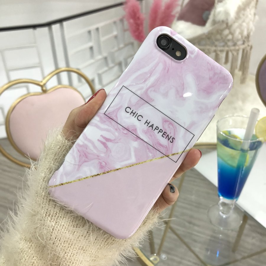 Apple Iphone 8 Plus Chic happens telefoonhoesje - Roze-2