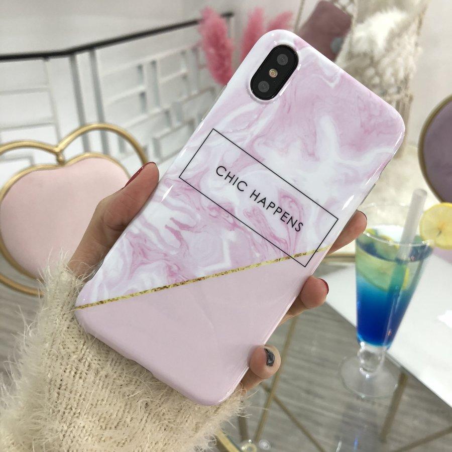 Apple Iphone XS Chic Happens telefoonhoesje - Roze-2