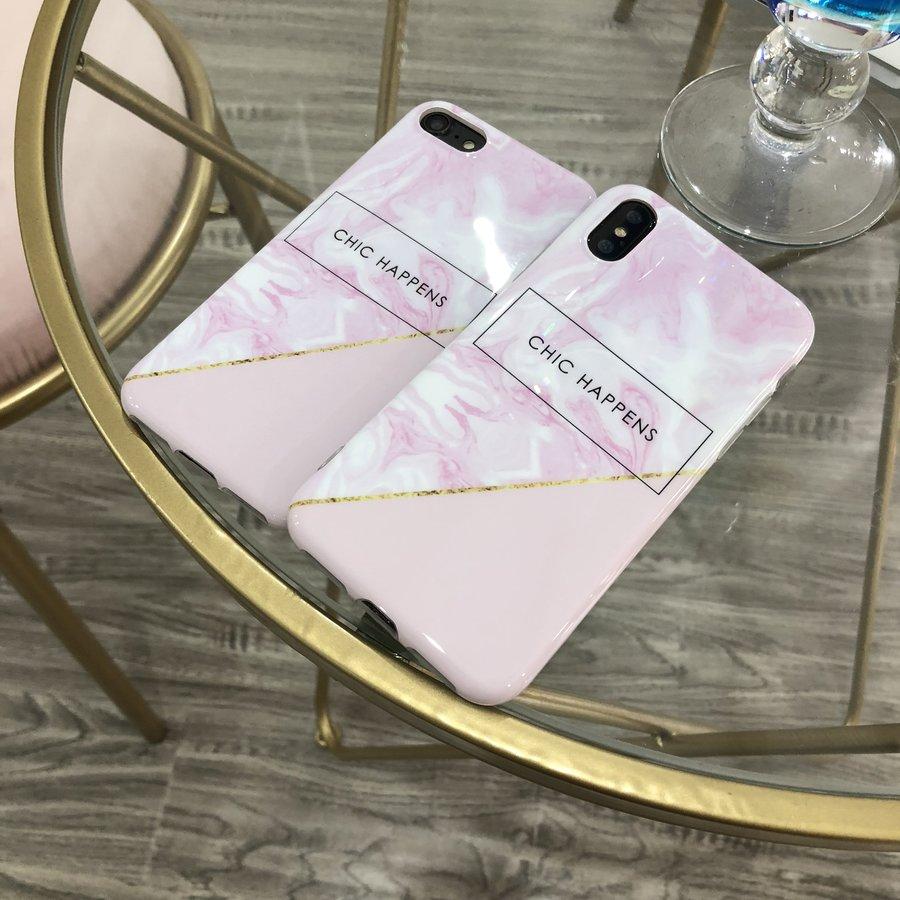 Apple Iphone XS Chic Happens telefoonhoesje - Roze-3