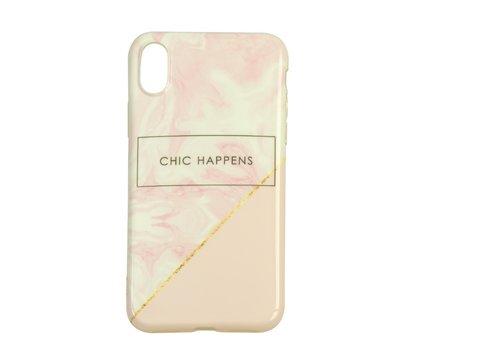 Apple Iphone XS Chic Happens telefoonhoesje - Roze