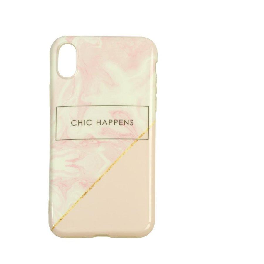 Apple Iphone XS Chic Happens telefoonhoesje - Roze-1