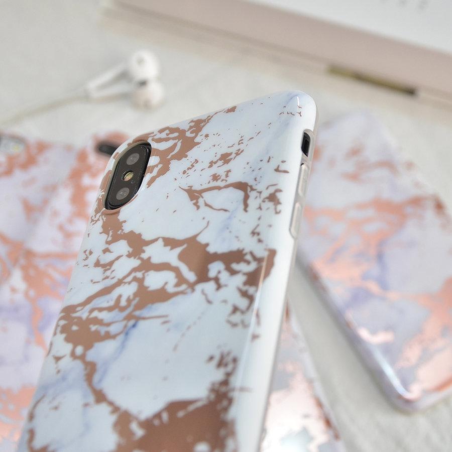 Apple Iphone X Shiny marble telefoonhoesje - Wit-2