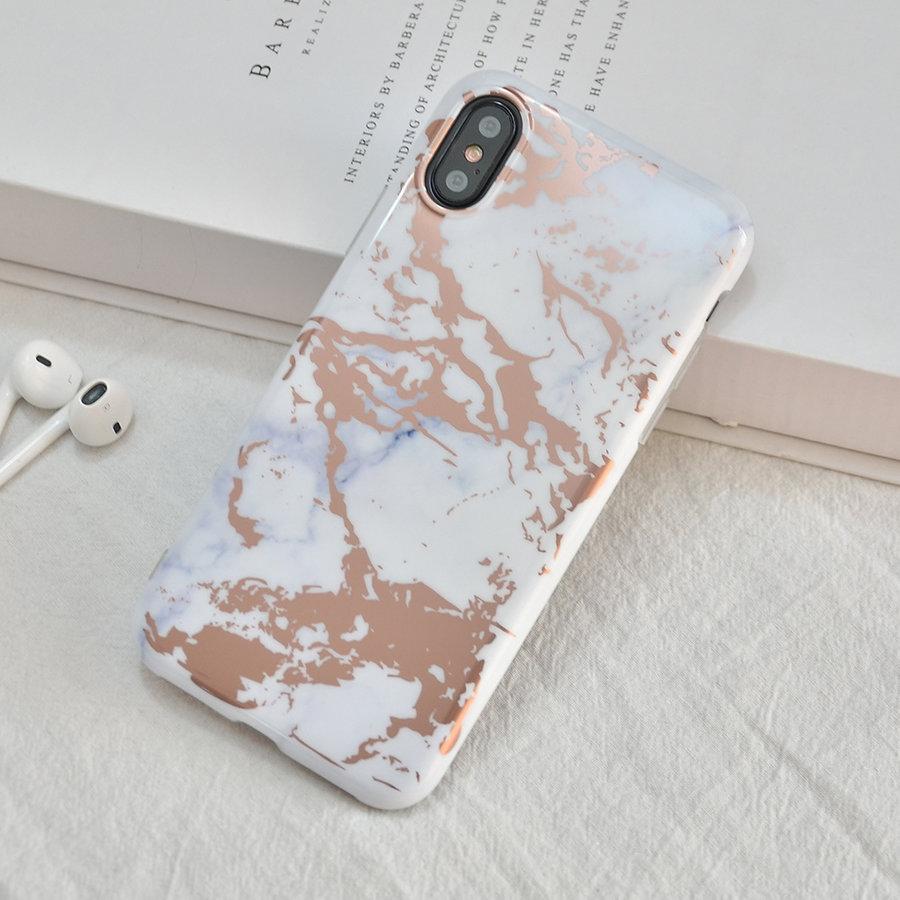 Apple Iphone X Shiny marble telefoonhoesje - Wit-4