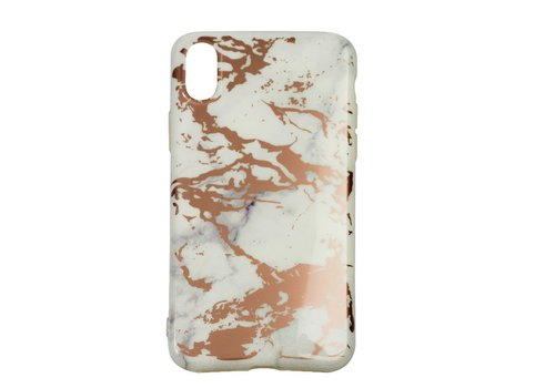 Apple Iphone XS Max Shiny marble telefoonhoesje - Wit