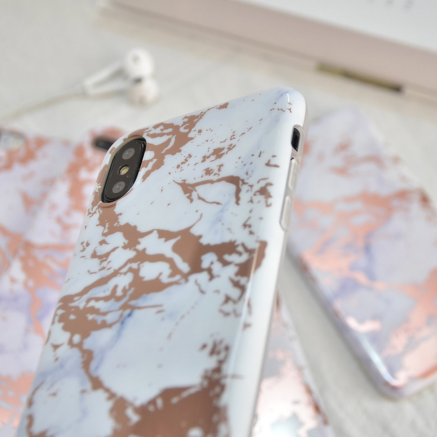 Apple Iphone XS Max Shiny marble telefoonhoesje - Wit-3