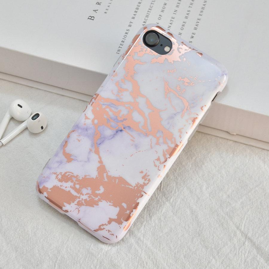 Apple Iphone 8 Shiny Marble telefoonhoesje - Wit-2