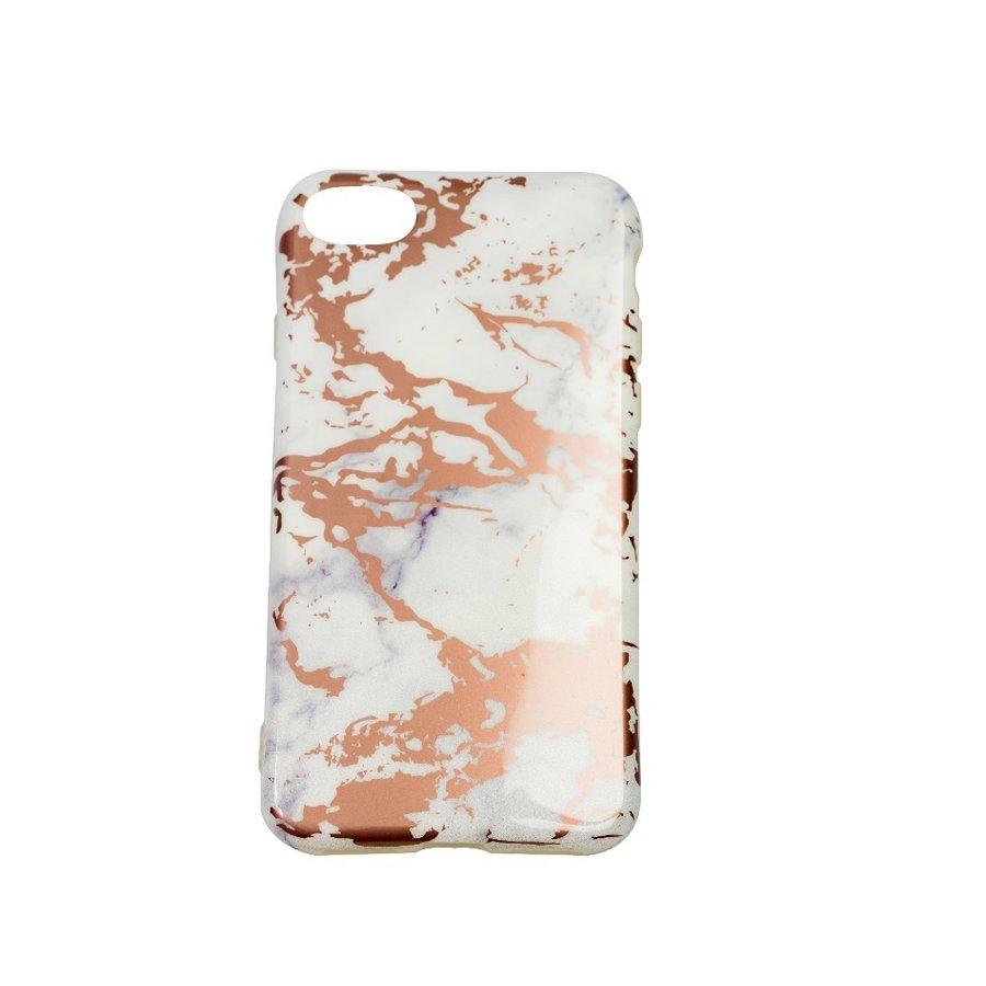 Apple Iphone 8 Shiny Marble telefoonhoesje - Wit-1