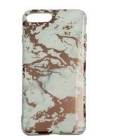 Apple Iphone 8 Plus Shiny marble telefoonhoesje - Wit