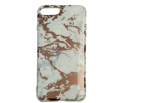 Apple Iphone 8 Plus Shiny marble telefoonhoesje - Wit