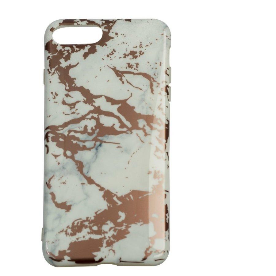 Apple Iphone 8 Plus Shiny marble telefoonhoesje - Wit-1
