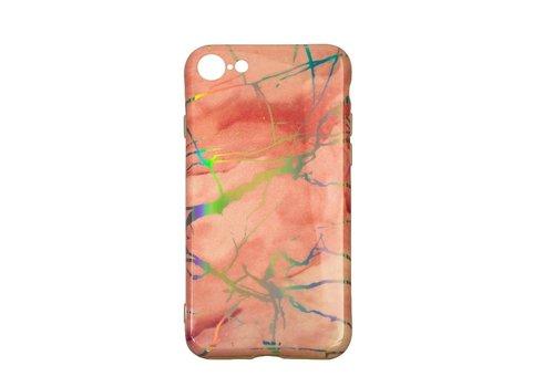 Apple Iphone 8 Shiny Marble telefoonhoesje - Roze