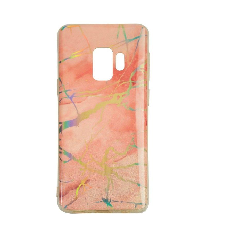 Samsung S9 Shiny marble telefoonhoesje - Roze-1