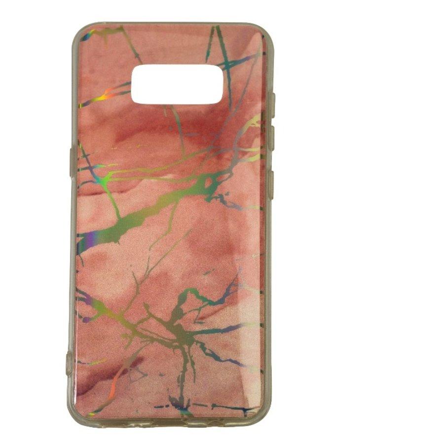 Samsung S8 Plus Shiny marble telefoonhoesje - Roze-1