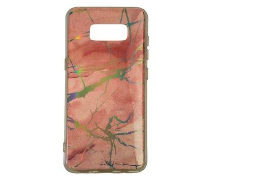Samsung S8 Shiny marble telefoonhoesje - Roze