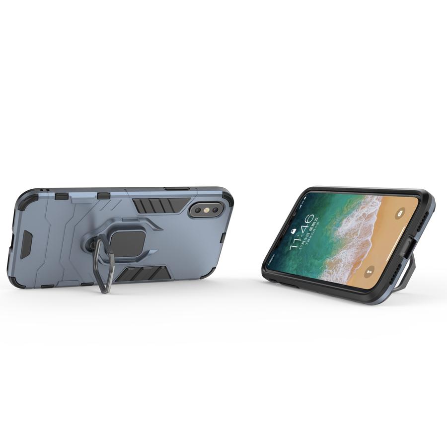 Apple Iphone Xs Ring magnet telefoonhoesje - Blauw-2