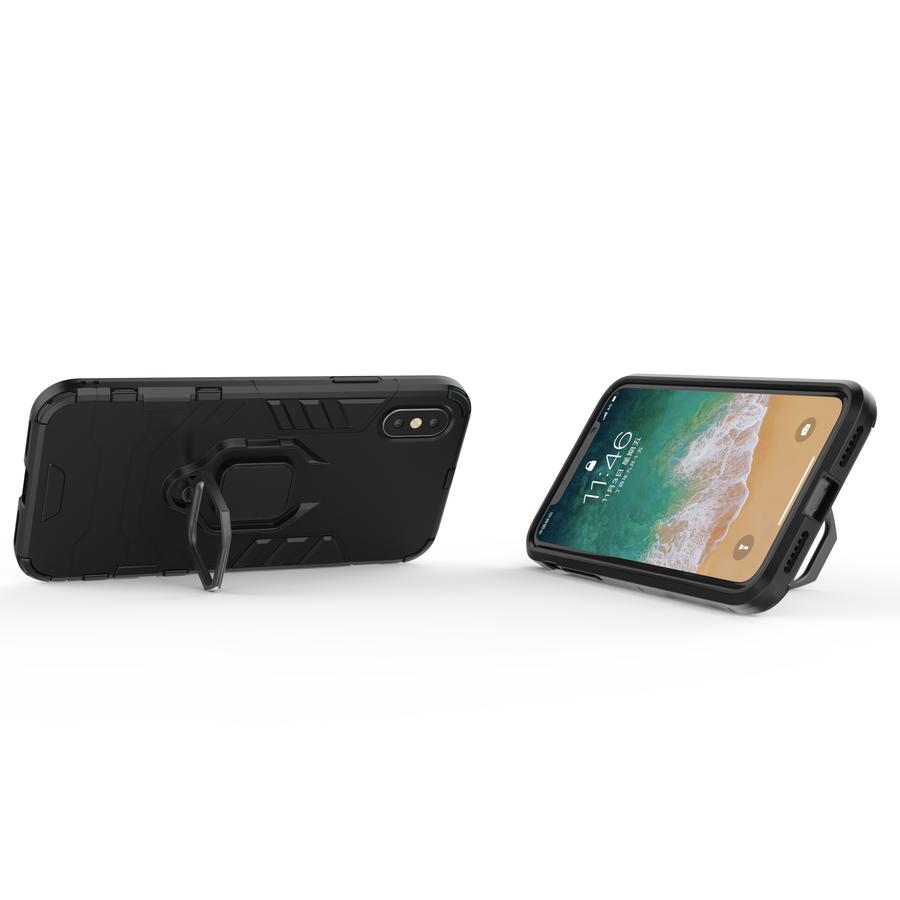 Apple Iphone XS ring magnet telefoonhoesje - Zwart-2