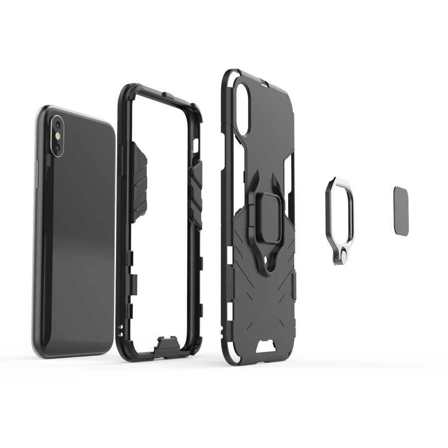Apple Iphone XS ring magnet telefoonhoesje - Zwart-3