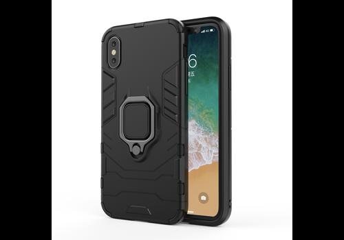 Apple Iphone XS ring magnet telefoonhoesje - Zwart