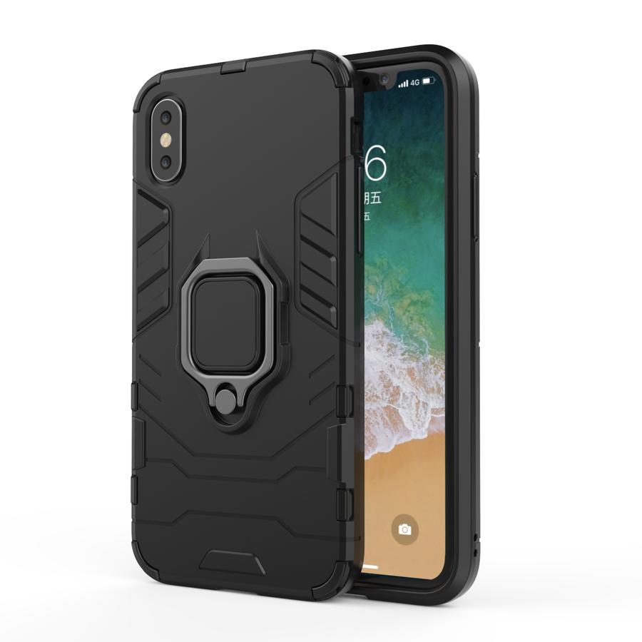 Apple Iphone XS ring magnet telefoonhoesje - Zwart-1