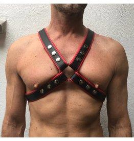 RoB 4-Strap harnas zwart met rode bies