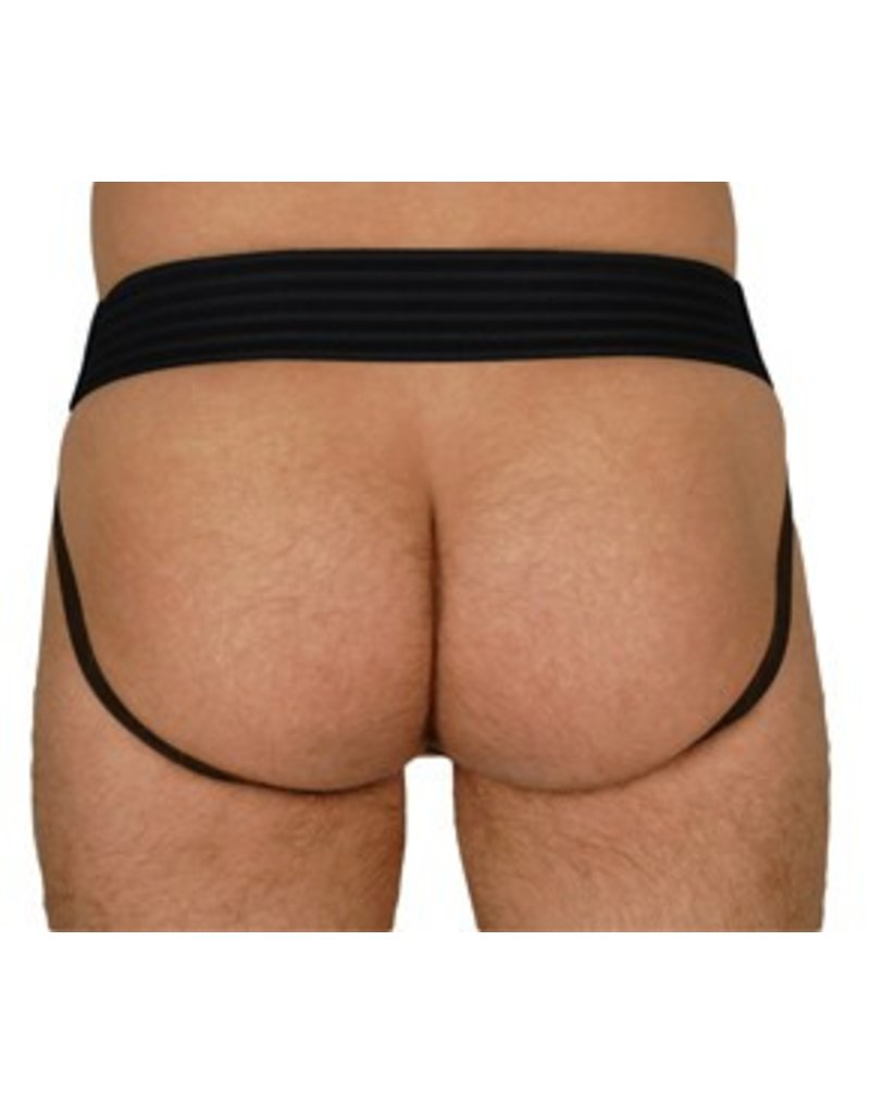 RoB Leather jockstrap with front zip and blue stripes