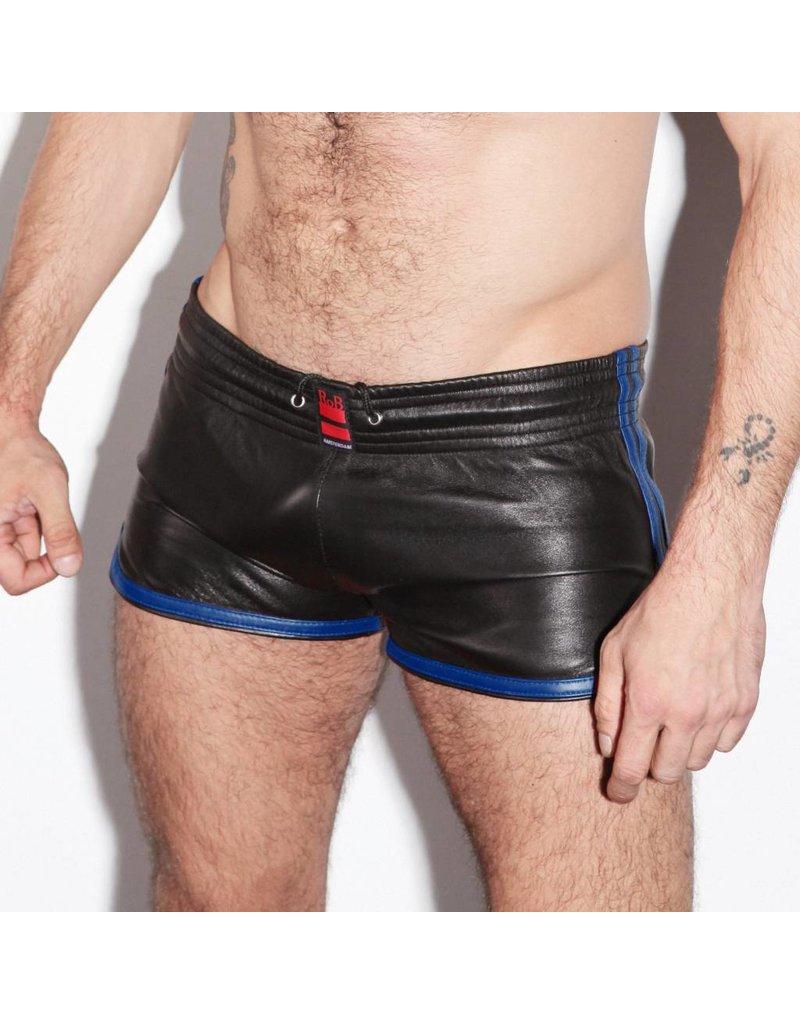 RoB Leder Sport Shorts mit blauen Streifen