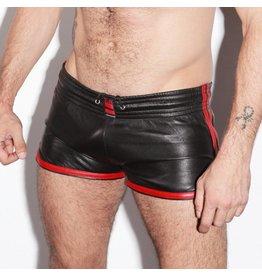 RoB Leder Sport Shorts mit roten Streifen