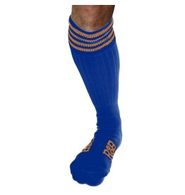 RoB Boot Socks Blue with Orange Stripes