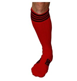 RoB Boot Socks Red with Black Stripes
