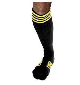 RoB Boot Socks zwart met gele strepen