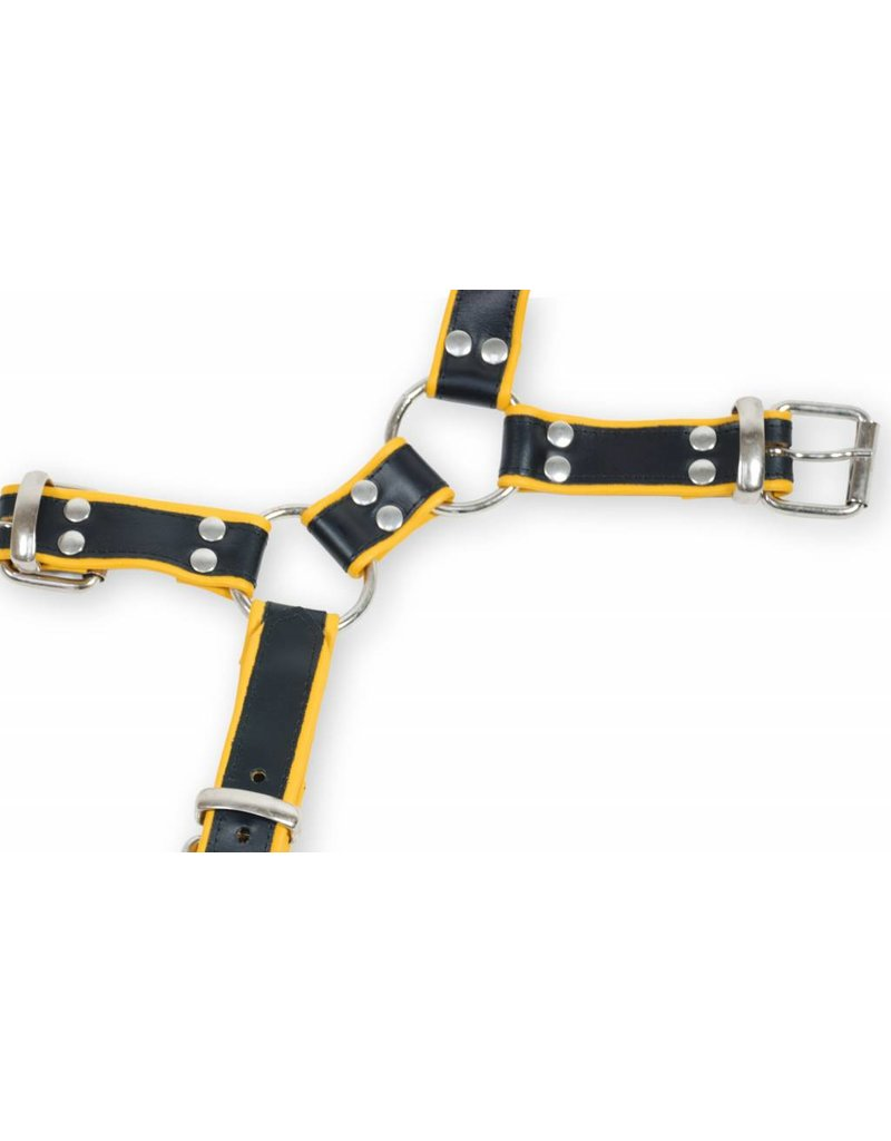 RoB Y-front harnas zwart met gele bies