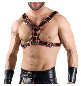 RoB Y-Front Brust Harness schwarz mit rot