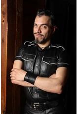 RoB Polizei Lederhemd schwarz mit weissem Rand