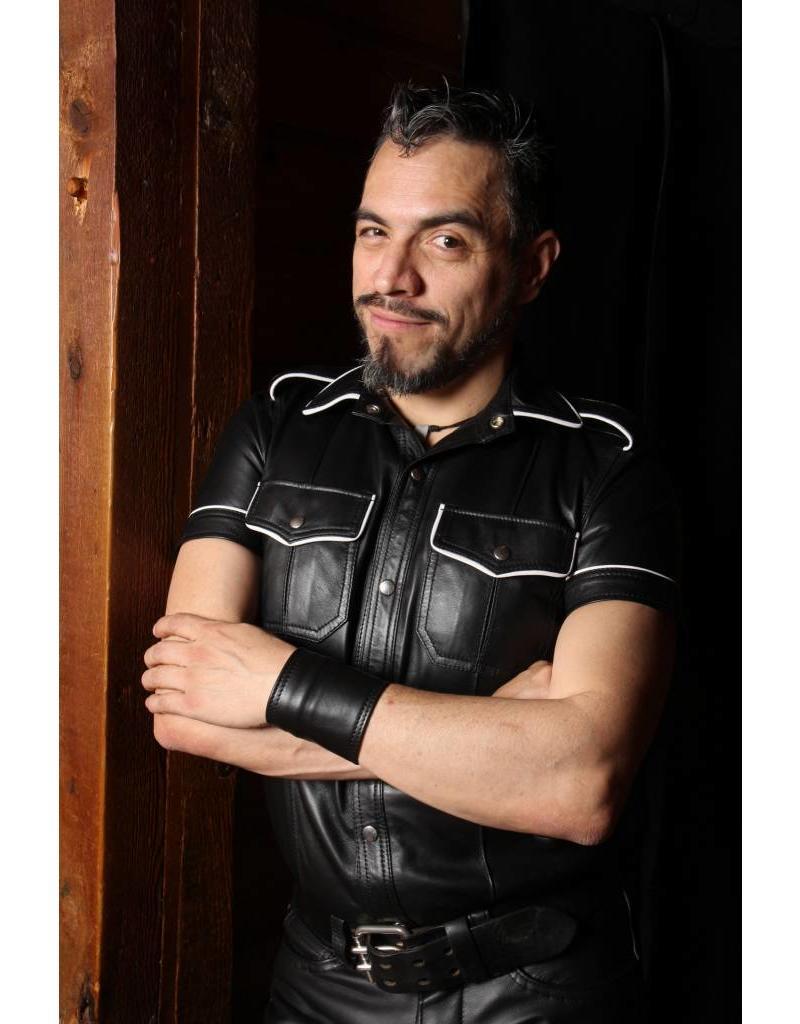 RoB Schwarzes Lederhemd mit Weissem Rand