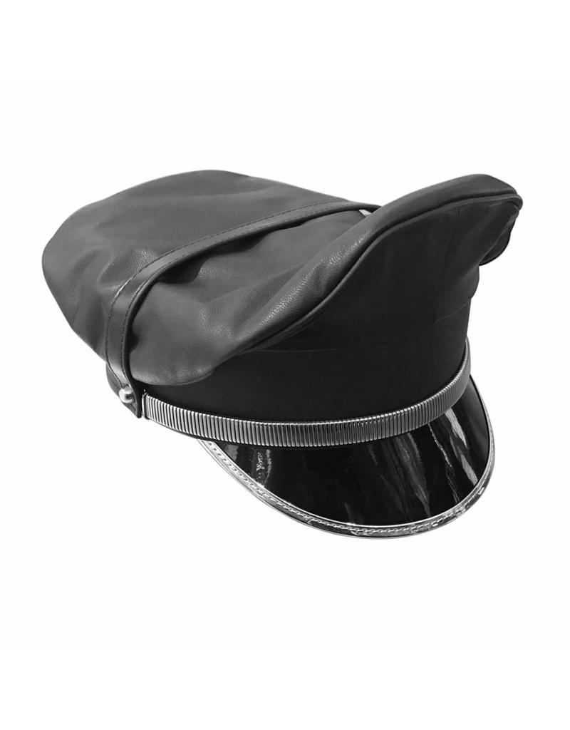 RoB Leather Military Cap, Silver Trim, Extension Strap