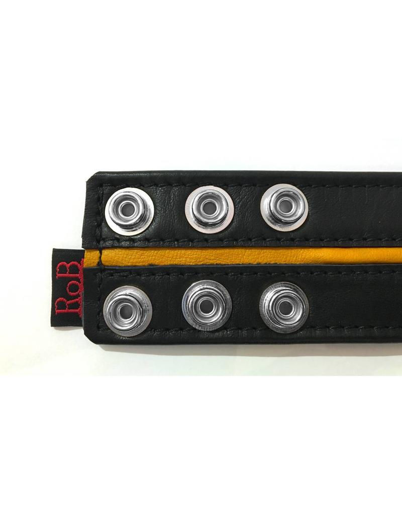 RoB Leather Bicepsband Black 50 mm wide with Yellow Piping and Press Studs