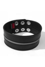 RoB Leather Bicepsband Black 50 mm wide with Grey Piping and Press Studs