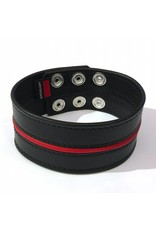RoB Leren bicepsband 50 mm breed zwart/rood met drukknopen