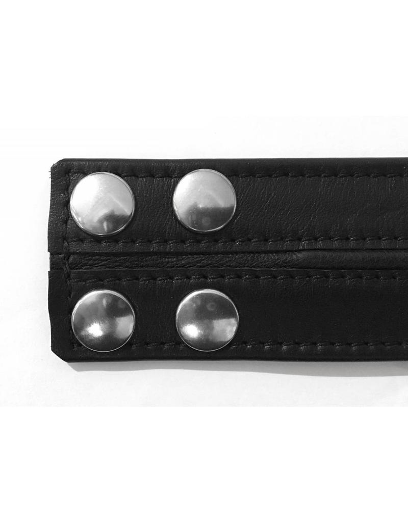 RoB Leather Bicepsband Black 50 mm wide with Black Piping and Press Studs