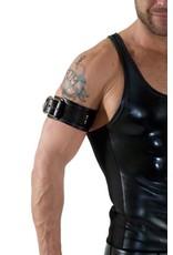 RoB Leren bicepsband met gesp, zwart