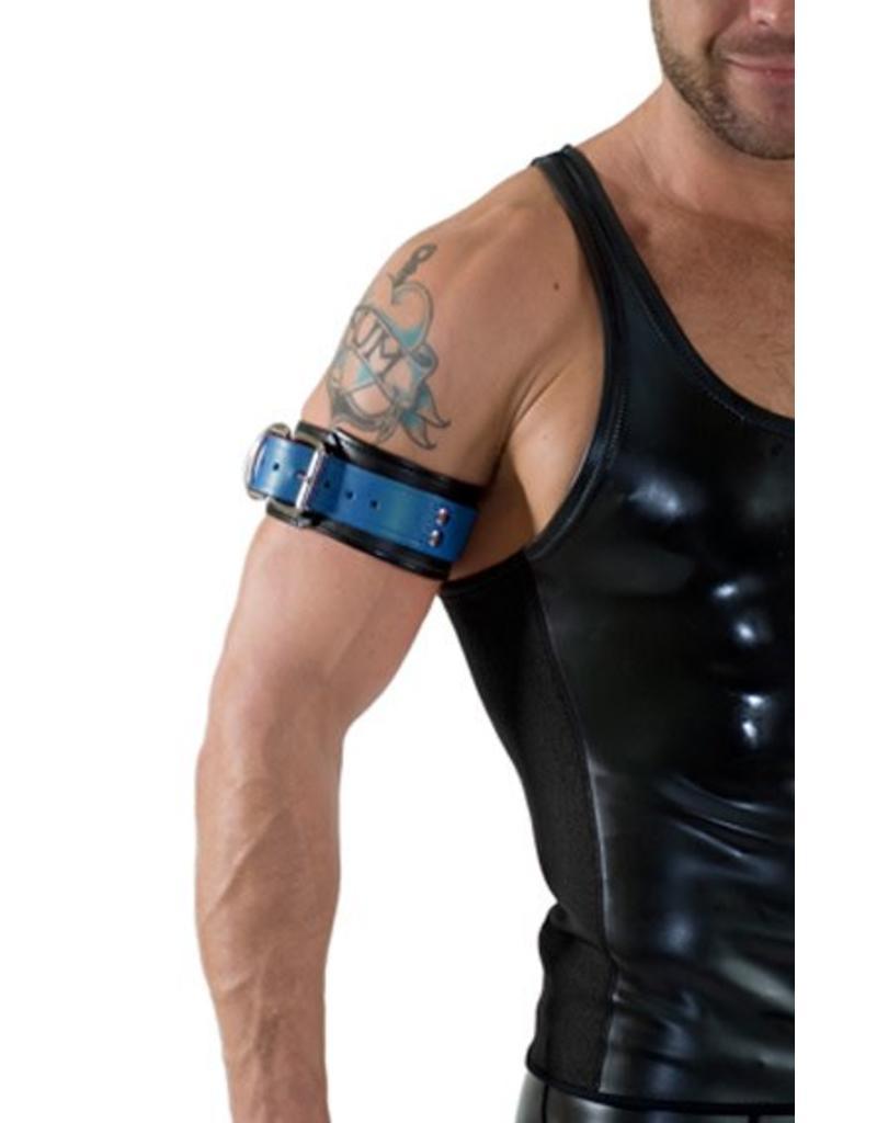 RoB Leder Bicepsband mit Schnalle, schwarz mit blau